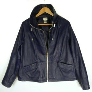 Blue leather jacket Chico's size 2 (US Med)